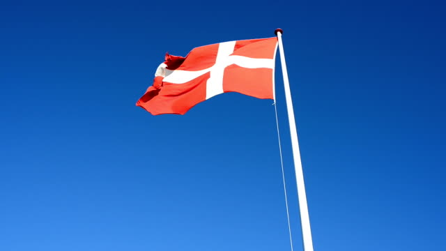 vídeos y material grabado en eventos de stock de sopla el viento la bandera nacional danés en el viento en claro cielo - danish flag
