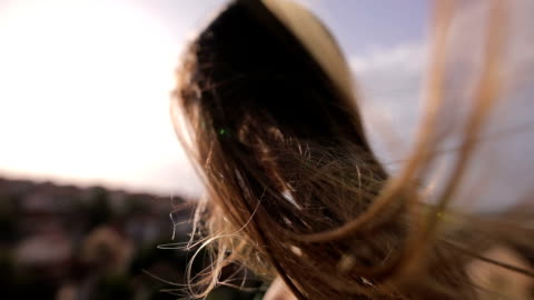 the wind in her hair - blowing stock videos & royalty-free footage