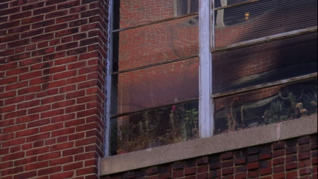stockvideo's en b-roll-footage met the window of a brick building reflects passing smoke. - baksteen