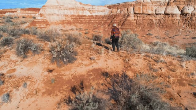 die frau, tourist, erkundung des canyons in utah, usa - canyon stock-videos und b-roll-filmmaterial