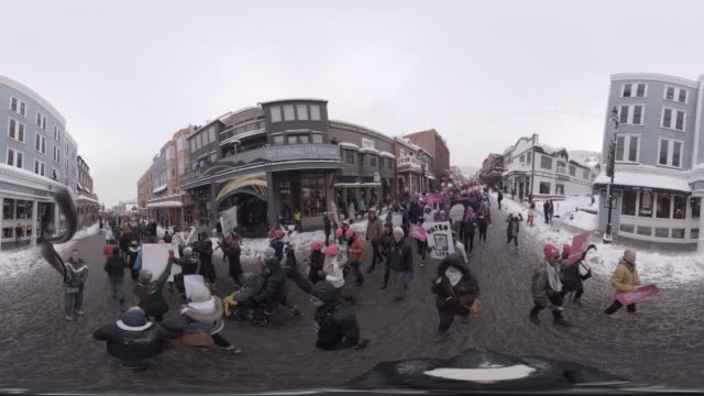 the women's march on main at the 2017 sundance film festival - monoscopic image stock videos & royalty-free footage
