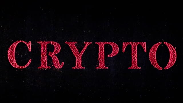 vídeos de stock e filmes b-roll de the word crypto in exploding text - david ewing