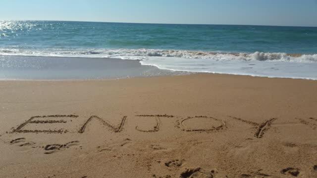 "the word ""enjoy"" written in the sand - silvestre stock-videos und b-roll-filmmaterial"
