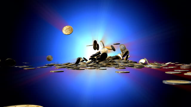 the word sale bursts through falling euro coins. - european union coin stock videos & royalty-free footage