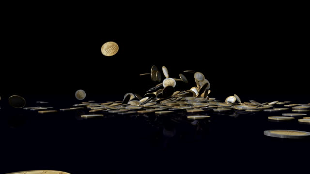 stockvideo's en b-roll-footage met the word sales slides into a pile of fallen coins. - european union coin