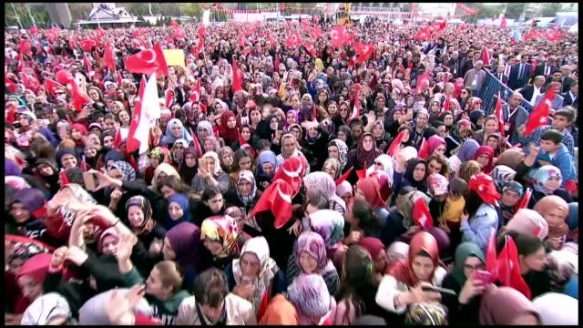 vídeos y material grabado en eventos de stock de the world congratulated turkey for the idlib agreement turkish president recep tayyip erdogan said on saturday speaking at a mass opening ceremony in... - sochi