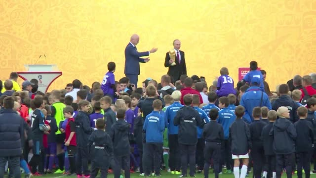 the world cup trophy tour begins a worldwide tour in moscow at a ceremony attended by russian president vladimir putin and fifa chief gianni infantino - fifa stock videos & royalty-free footage