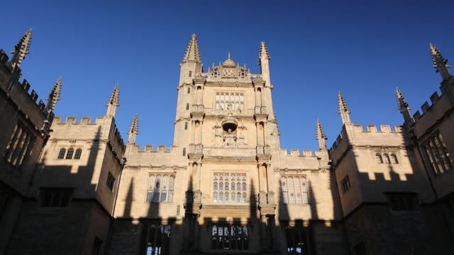 the world famous bodleian library in oxford, uk. - stone object stock videos & royalty-free footage
