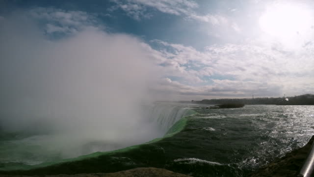 The world-famous Niagara Falls - a popular place among tourists. In the picture, one can see two waterfalls and the Canadian shore of the Niagara Rive
