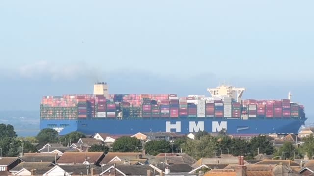 the world's biggest container ship has arrived in the uk for the first time. hmm algeciras concluded its journey from china to essex on sunday – via... - biggest stock videos & royalty-free footage