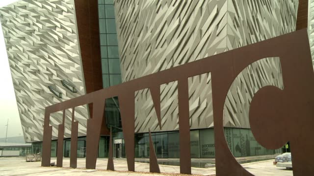 the world's biggest titanic visitor attraction opens in the ship's belfast birthplace this month 100 years to the day since the doomed liner was... - titanic belfast stock videos and b-roll footage