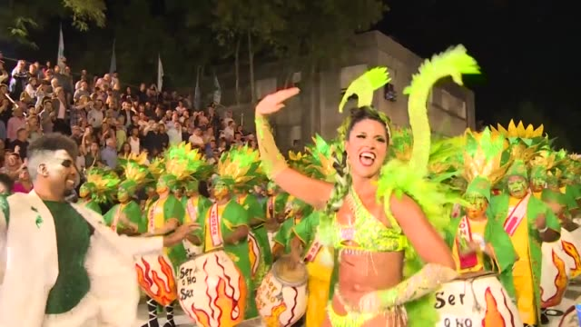 the world's longest carnival takes place on one of its hottest nights with desfile de llamadas the calls parade where more than 40 troupes compete on... - desfile stock videos & royalty-free footage