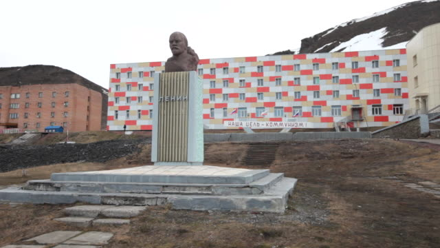 the world's second most northernly statue of lenin in barentsburg, a russian mining settlement on svalbard archipelago - 1932 stock videos & royalty-free footage