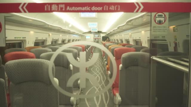the world'sÿlongestÿhighspeed railÿnetwork in hong kong china on sunday september 23 2018 - interno di treno video stock e b–roll