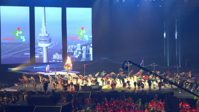 the xvii pan american games were the third regional games hosted in canada but the first one to be hosted in the province of ontario the opening... - cirque du soleil stock videos & royalty-free footage