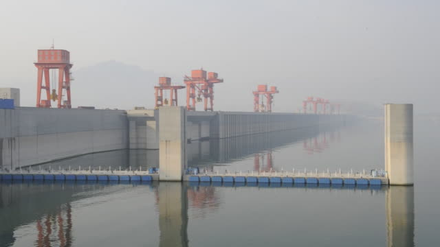 The Yangtze River flows around the Three Gorges Dam in China.