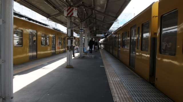 The yellow train at the left side comes to the platform while the one at the right side stands still