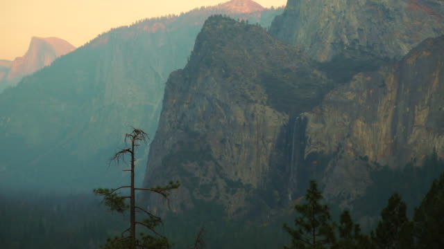 The Yosemite Valley from Tunnel View with the Bridalveil falls.