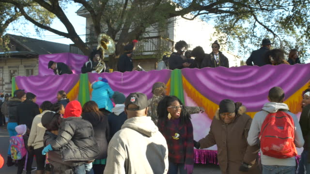 The Zulu parade on passes on Jackson near Claiborne during Mardi Gras Fat Tuesday