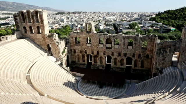 theater of herodes atticus over acropolis in athens - parthenon athens stock videos & royalty-free footage