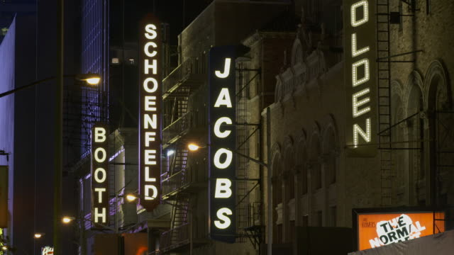 theater signs on broadway at night - broadway stock videos & royalty-free footage
