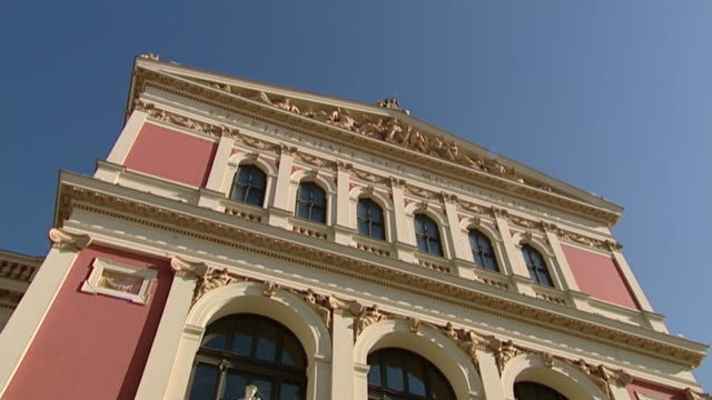 theater und opernhäuser wiens - wiener musikverein front view - austrian culture stock videos & royalty-free footage