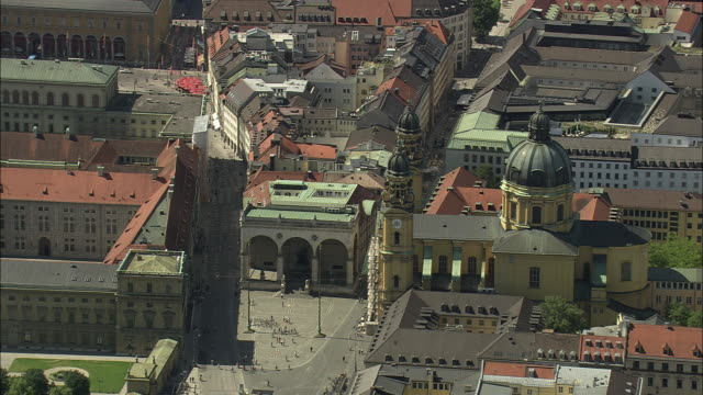 AERIAL Theatine Church and surrounding buildings, Munich, Bavaria, Germany