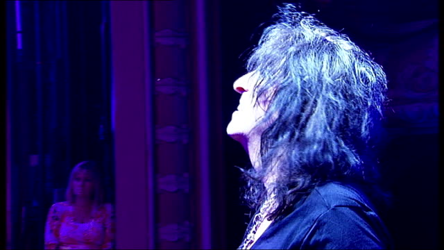 Alice Cooper joins cast of 'Rock Of Ages' for a night Cooper performing on stage with band {Cooper interview overlaid SOT]