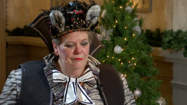 anne hegerty stars in dick whittington pantomime england berkshire windsor theatre royal int anne hegerty interview sot on doing bushtucker trials on... - i'm a celebrity... get me out of here stock videos & royalty-free footage