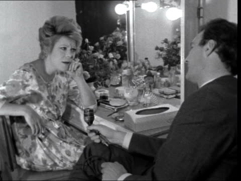 british musicals; england: london: adelphi theatre: rachel roberts seated in dressing room with peter snow - peter snow stock videos & royalty-free footage
