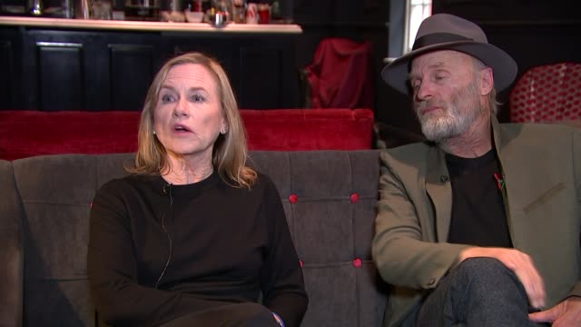 'buried child': ed harris and amy madigan interview; madigan and harris interview sot - amy madigan stock videos & royalty-free footage