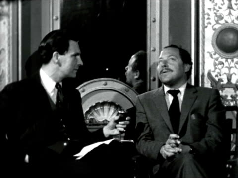 'camino real': tennessee williams interviewed; england: london: phoenix theatre: int tennessee williams interviewed by ludovic kennedy sof - [single... - ludovic kennedy stock videos & royalty-free footage