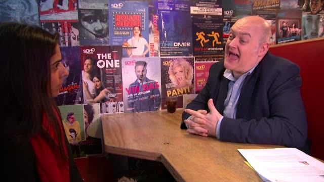 campaign to save london theatres from demolition; london: dara ó briain set-up shots with reporter / interview sot streatham hill theatre: ext... - dara o'briain stock videos & royalty-free footage