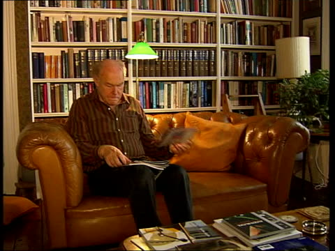 Campaign to save London theatres ITN EXT Box office sign PAN i/c Actor Timothy West sitting reading in study Programme for play 'Endgame' by Samuel...