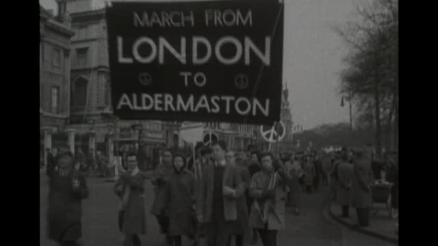 catherine tate stars in new musical miss atomic bomb s23030702 / 441958 england london members of cnd taking part in london to aldermaston march - aldermaston stock videos & royalty-free footage