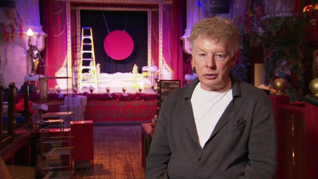 christmas pantomime season under threat; england: london: int christopher biggins interview sot cutaway reporter brick lane music hall: int high... - パントマイム点の映像素材/bロール