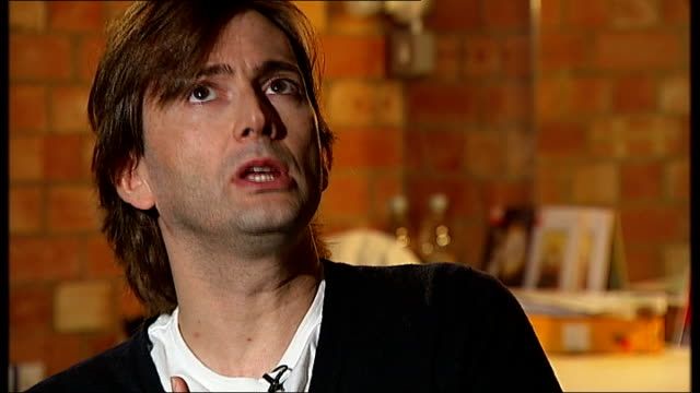 david tennant interview **includes tennant interview sot on receiving a ring from ian richardson / his long hair / on wanting to be an actor as a... - doctor who stock videos & royalty-free footage