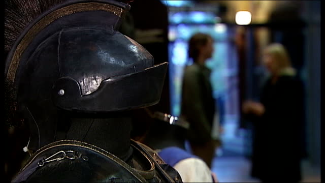 david tennant interview on playing richard ii int tennant and reporter chatting suit of armour with tennant and reporter in background tennant... - suit of armour stock videos and b-roll footage