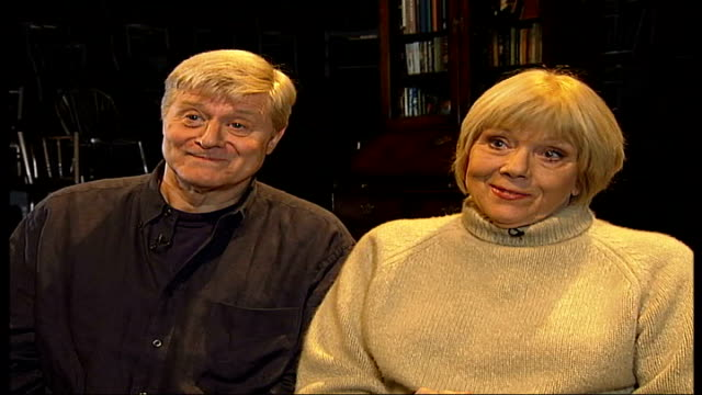 diana rigg and martin jarvis interview / 'honour' rehearsals; england: london: int diana rigg and martin jarvis interview sot - diana rigg stock videos & royalty-free footage