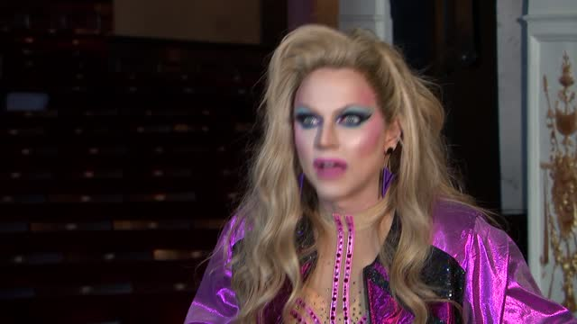 drag artist courtney act interview; england: london: garrick theatre: int courtney act interview sot / various set-up shots speaking to reporter / - artist stock videos & royalty-free footage