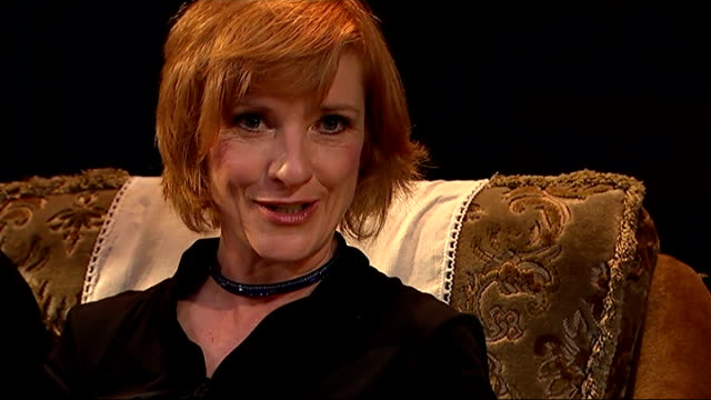 'east is east' play returns to the west end jane horrocks interview sot - jane horrocks stock videos & royalty-free footage
