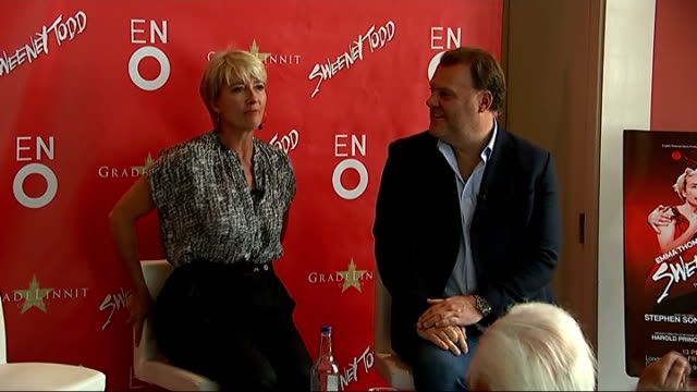 Emma Thompson returns to West End stage for 'Sweeney Todd' musical ENGLAND London INT Emma Thompson and Bryn Terfel taking seats at press conference...