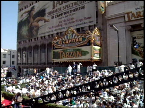 theatre exterior at the 'tarzan' premiere at the el capitan theatre in hollywood california on june 12 1999 - el capitan theatre stock videos & royalty-free footage