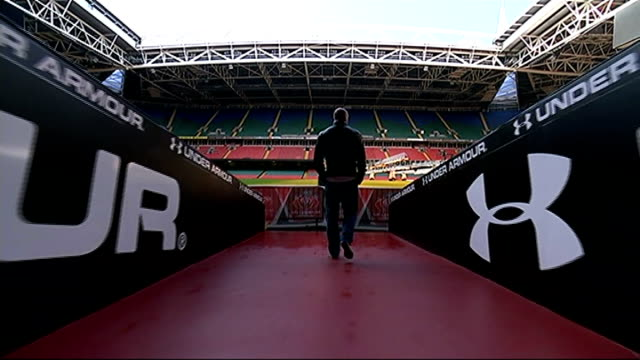 gareth thomas 'coming out' play wales cardiff millennium stadium overlay welsh national anthem sung by crowd at rugby match** various setup shots of... - gareth thomas rugby player stock videos & royalty-free footage