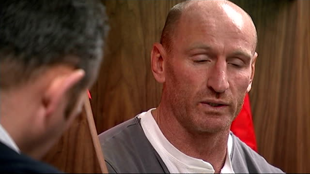 gareth thomas 'coming out' play wales cardiff millennium stadium int gareth thomas interview sot / close shot of thomas's face as he stands looking... - gareth thomas rugby player stock videos & royalty-free footage