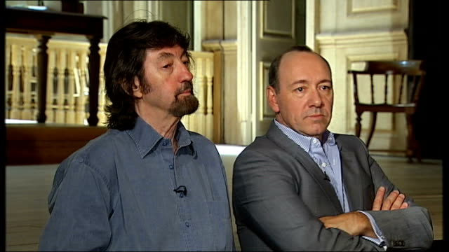 kevin spacey and trevor nunn interview; - two rows at the front are what we call addice mittel student seats and there are hundred of these seats... - doing a favour stock videos & royalty-free footage