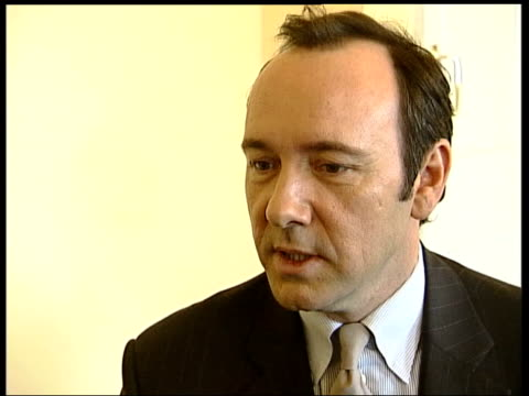 Kevin Spacey interview ENGLAND LONDON THE OLD VIC CMS Kevin Spacey seated as interviewed by Nicholas Glass SOT Talks of feeling the theatre's history...