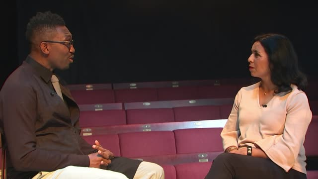 kwame kwei-armah to be artistic director of the young vic / quotas to improve diversity; various of reporter and kwei-armah talking on stage... - ヘンリック イプセン点の映像素材/bロール