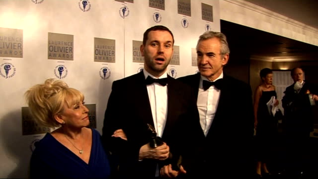 vídeos y material grabado en eventos de stock de laurence olivier awards 2010; barbara windsor, michael wynne and larry lamb interviews sot - can't speak / lot of great new plays from the royal... - telenovela
