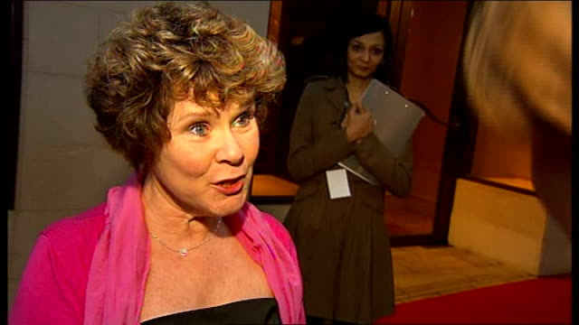 Laurence Olivier Awards 2010 Imelda Staunton interview SOT Very nice to be nominated / theatre vital to this country James Earl Jones and wife...
